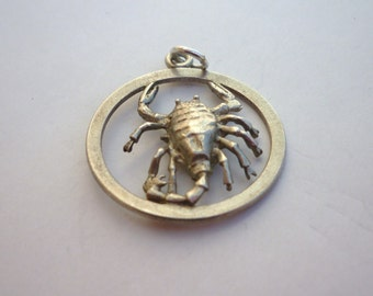 Silver Sterling Scorpio Zodiac Large Vintage Pedant 4.6g/2.6cm