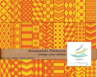 Orange Geometric Patterns - Scrapbooking Digital paper Pack for personal and commercial use - Suitable for scrapbooking and backgrounds
