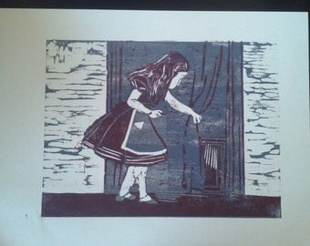 Alice in Wonderland Reduction Woodblock print