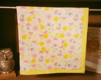 Floral Flannel with Yellow Flannel Blanket