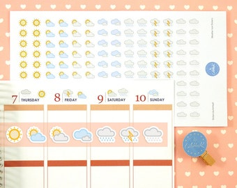 140 Weather Stickers | Weather Planner Stickers | Journal Stickers | Diary Stickers - Erin Condren, Happy Planner, Kikki K, Filofax