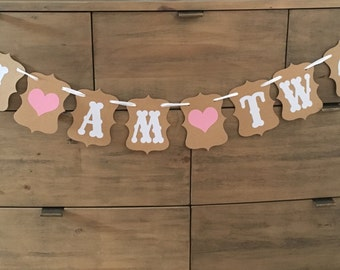 Beautiful Vintage Style Bunting 2nd Birthday Party Decoration I Am Two  Second Girls Party boys decor