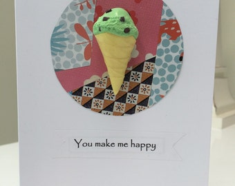 You make me happy mint choc chip ice cream - A6 greetings card