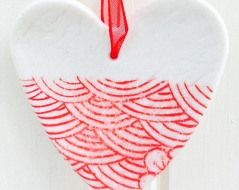 Porcelain Heart Hanging Decoration, Red and White