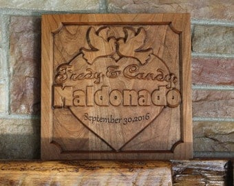 Anniversary sign, wood signs last name, anniversary gift, wood family plaque, 5th anniversary gift, last name plaque, established plaque