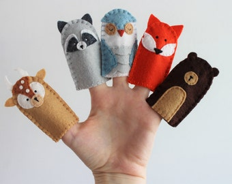 Woodland Creatures Finger Puppets Set of 5