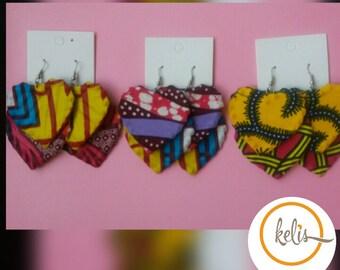 African Print Dangling Heart Earrings