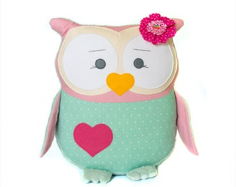 Cute stuffed owl pillow Nursery decor Decorative owls Baby shower gift Pink and mint owl Personalized pillow