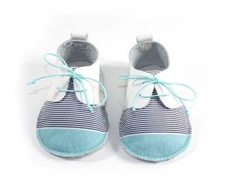 Baby in White Leather textile turquoise and stripes shoes