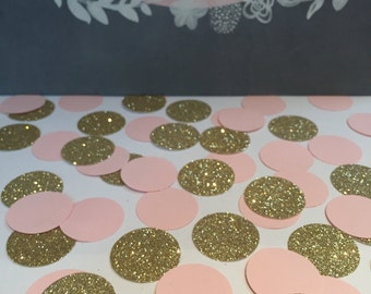 Circle coloured confetti • glitter gold and blush pink• Birthdays • Weddings • Baby Shower • Perfect for all occasions•