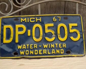Vintage Michigan License Plate 1967 Water-winter Wonderland  Metal Old Licence Plate