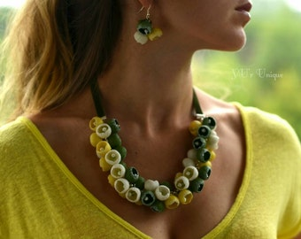 Yellow - Green - White Polymer Clay Necklace and Earrings, Summer Necklace,  Flower Necklace, Bohemian Necklace, Boho Chic Necklace