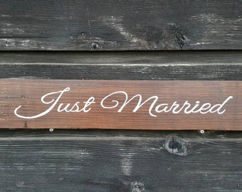 "Handpainted Reclaimed Wood ""Just Married"" Sign"