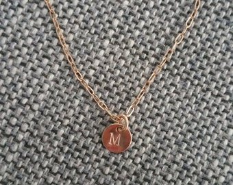Rose gold-filled Initial Charm Necklace