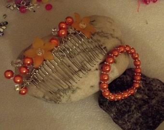 bridemaid headdress and bracelet set