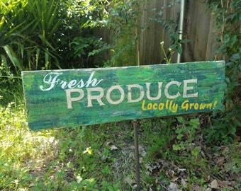 Garden sign on wood, Fresh Produce, hand painted