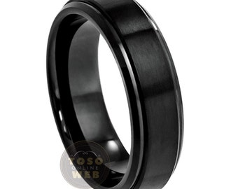 Ladies 6mm Tungsten Wedding Band, Black Ion Plated Brushed Center Stepped Edge, Comfort Fit Tungsten Carbide Anniversary Ring TS0852