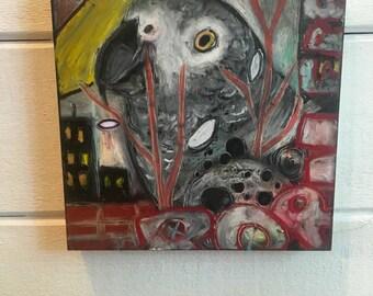 African Gray, Urban Parrot, Mixed Media ok Wood