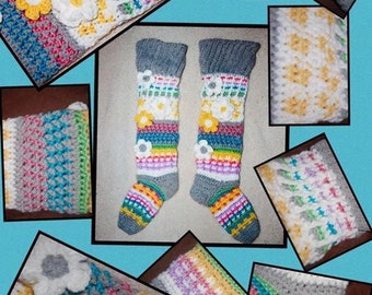 Fancy Flower Knee High Socks Crochet Pattern