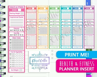 Health & Fitness Planner Sidebar In Rainbow for Erin Condren + Happy Planner - Printable Stickers To Keep Track of Your Healthy Habits