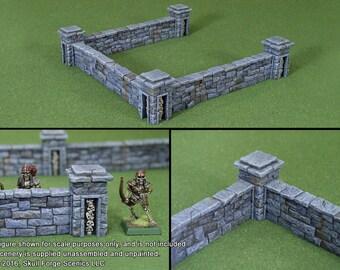 GRAVEYARD WALLS (3 Walls, 4 Posts)