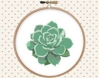 Succulent cross stitch pattern - cross stitch PDF - instant download - cross stitch pattern - cactus cross stitch pattern modern