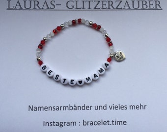 Customizable name bracelet best MOM Red