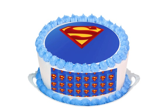 Superman Edible Cake topper Round HD 7.5 by SimplyCakeToppers