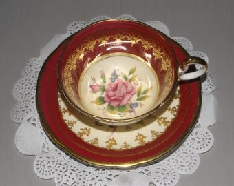 Vintage Burgundy Ansley Tea Cup and Saucer Ca. 1942