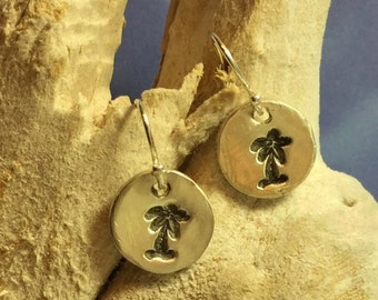 Sterling and Fine Silver Antiqued Palm Tree Disk Earrings