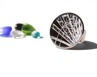 gunmetal jewelry, gunmetal ring, wearable art, art jewelry, photo jewelry, unique gifts, ring, jewelry, statement ring
