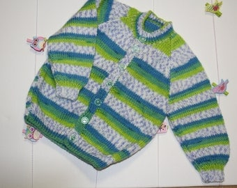 Green Multi-coloured Hand Knitted jumper