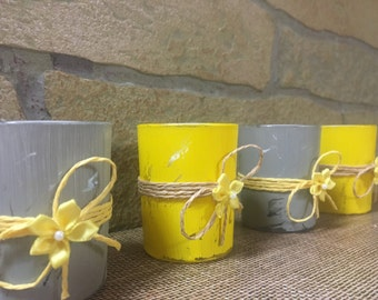 Distressed rustic yellow and grey votive candle holders (4), votives, candle holders, wedding votives, candle centerpieces