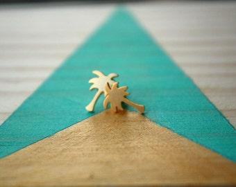 Boucles d'oreilles Palmier | acier doré & argenté | Joli bijou minimaliste | Tropique | Cadeau mignon pour offrir | Idée anniversaire
