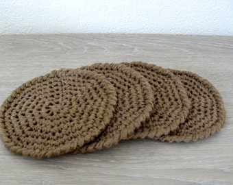 Set of 6 coasters, crocheted in linen