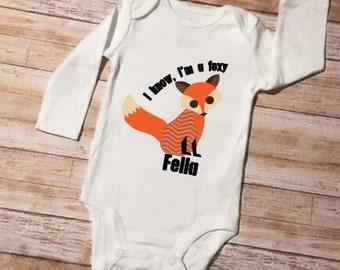 Baby Onesie, Foxy Fella Long Sleeve Onesie, Onesie  Long Sleeve,Infant Shirt, Cute Baby Onesie, Available In Short Sleeve Too!