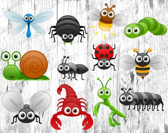 12 Insects Kids Animals clipart, animals clipart, Kids clipart set, animals kids clipart, digital animals, Insects clipart,scrapbooking clip