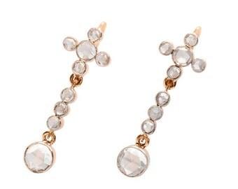 Rose Cut Diamond Earrings - Vintage 1920's