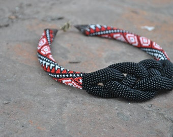 Lariat Necklace.beaded necklace,Ukrainian necklace