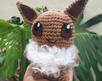 Eevee Amigurumi, Amugurumi Pokemon, Pokemon Plush, Pokemon Go Amugurumi Inspired, Crochet Plush Doll