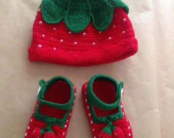 Red Strawberry Baby Girl Set