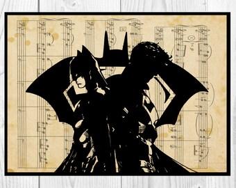 Batman vs Superman,Musical Notes Art, Dictionary Art print, Instant Download
