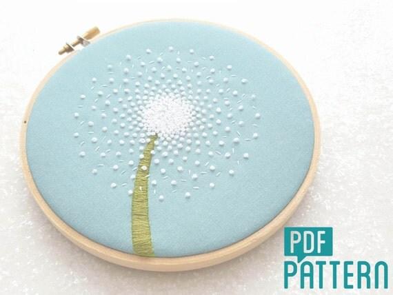Dandelion embroidery pattern diy hand pdf