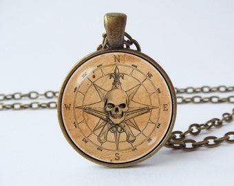 Pirate compass necklace Pirate pendant Travel gift Compass jewelry Pirate necklace Voyage Caribbean sea Nautical compass Pirate gift Captain