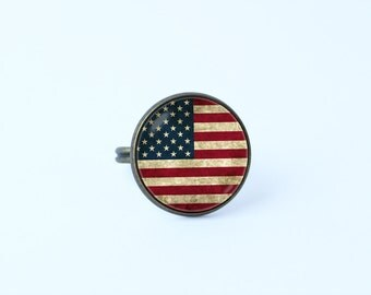 US flag ring American flag ring Patriotic jewelry National symbolic United States USA jewelry Women ring Patriotic ring United States flag