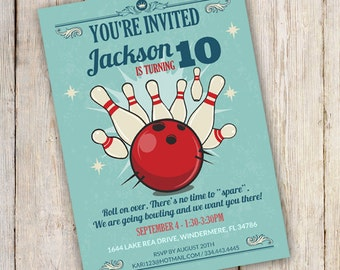Bowling birthday invitation. Bowling party invitation - Instantly Downloadable and Editable File - Personalize at home with Adobe Reader
