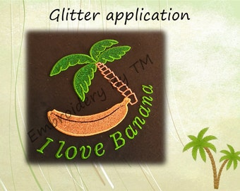 Banana applique machine embroidery design