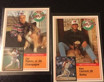 1993 Limited Edition Milkbone Super Stars Set Of 2 Cards - Cal Ripkin, Jr. & Ken Caminiti