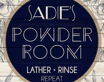 Custom Powder Room Sign Digital Download