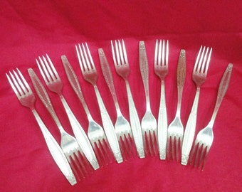 Vintage Soviet Union Set Forks stainless steel 1970 FREE SHIPPING !!!
